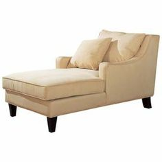 "Microfiber-upholstered chaise lounge with tapered legs.   Product: Chaise Construction Material: Wood, fabric and microfiberColor: Cream and cappuccinoFeatures:  Sloped track armsTapered block legs Dimensions: 33"" H x 59"" W x 33"" DNote: Throw pillow not included"