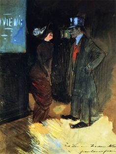 Jean-Louis Forain - Leaving the Theater, Night-Time Scene,1885