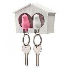 QUALY Maison Porte-clés duo Oiseaux blanc et rose