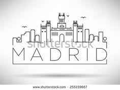 Madrid City Line Silhouette Typographic Design