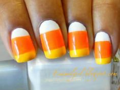 Simple Candy corn nails