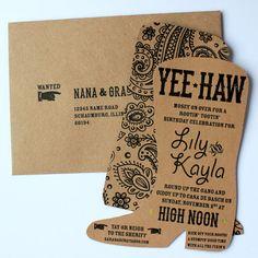 Yee-Haw Boot Invitation by SaraBeeStudio on Etsy