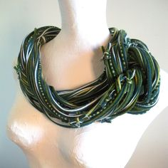 Forest Green Infinity Scarf Tribal Gypsy  Fall Fashion Cowl Green Jersey Scarf Stripes Dots Upcycled Clothing. $65.00, via Etsy. Circle Scarf, Cowl Scarf, Upcycled Clothing, Bohemian Gypsy, Green Stripes, Costume Design, Infinity, Autumn Fashion, Scarves