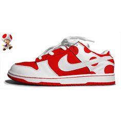 size 40 b8c0a d5ecf Toadstool Mario Shoes Nike Dunk Low Red White Nike Kicks, Nike Air  Vapormax, Red