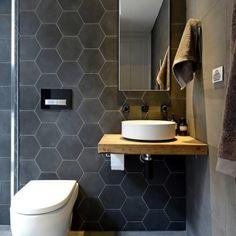 Kyle and Kara's bathroom the block - love the tiles for a bathroom