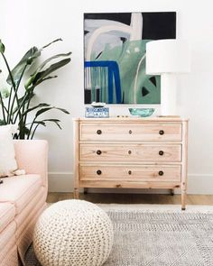 Stunning boho, tropical office and sitting room space! Love the One Room Challenge reveal day! Coastal Living Rooms, Boho Living Room, Living Room Decor, Mid Century Modern Living Room, Living Room Modern, Living Room Designs, Pink Bookshelves, Green Shelves, Dresser As Nightstand