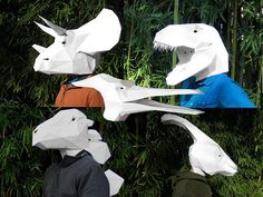 Impressive Geometric Papercraft Masks Of Dinosaurs, Video Game Characters - DesignTAXI.com