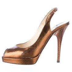 Jimmy Choo copper snakeskin pumps All reasonable offers will be considered. No lowballs please. Jimmy Choo Shoes Heels