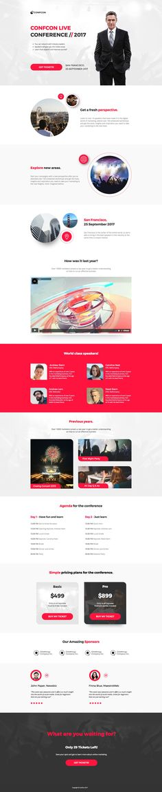 A fun, forward-thinking design to get people amped for your conference. Highlight your speakers, sponsors, agenda, and what attendees will learn to entice registrations. #advertising #marketing #cro #landingpages #landingpagetemplates #templates
