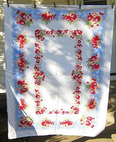 Vintage 50s Bright FRUIT TABLECLOTH Kitchen CHERRIES Cherry All Cotton