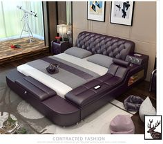 Looking for My Aashis Genuine Leather Bed Frame Massager Storage Safe Speaker LED Light ? Check out our picks for the My Aashis Genuine Leather Bed Frame Massager Storage Safe Speaker LED Light from the popular stores - all in one. Bedroom Sets, Master Bedroom, Light Bedroom, Design Modular, Modern Design, Bed Designs With Storage, Queen Size Bed Sets, Leather Bed Frame, Double Bed Designs