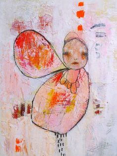 "Pink Modern Art An Original Mixed Media Painting by Christina Romeo, ""Fallen"""