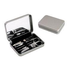 COD.BE021 Set de Viaje y Manicure en Caja Metálica con Espejo y cierre imantado.