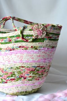 I handmade this pretty Shabby Chic Tote Bag, Handmade Moses Basket, Pink and Green Storage Organizer, Pink Beach Bag, Picnic Basket, Gift Basket by WexfordTreasures on Etsy
