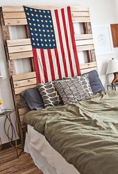 Emma Chapman's bedroom abeautifulmess.com I LOVE THIS HEADBOARD!!!!