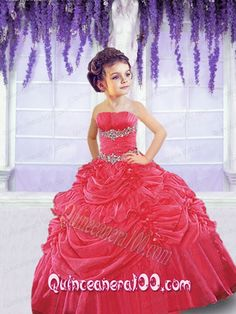 2014 Wonderful Red Little Girl Pageant Dress with Beading and Pick-ups - Quinceanera 100
