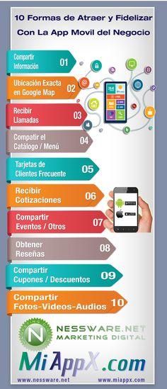 Infographic - 10 Formas de Atraer y Fidelizar Con App Movil | http://nessware.net/infographic-tips-atraer-fidelizar-con-app-movil/ | Descargarlo en formato PNG y PDF -