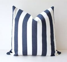 Navy Striped Pillow Cover:)