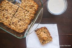 Banana Peanut Butter Oat Bars with Dates | Slender Kitchen
