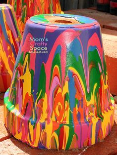 Pour Painted Pots for kids crafty projects. Let the kids paint it and mom can use it for flowers and plants!!