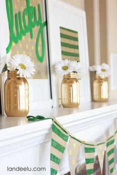 St Patricks Day Burlap Mantel