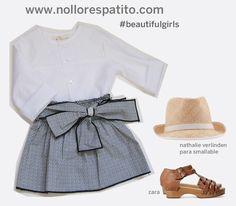 Look camisa cuello caja + falda lazada hojitas