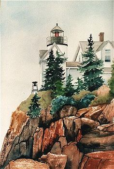 """Acadia Park Lighthouse"" watercolor (c)Pat Dolan SOLD"