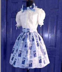 OMG! I want this!    Tardis Lolita Skirt custom made cotton fabric by corsetwonderland, $95.00