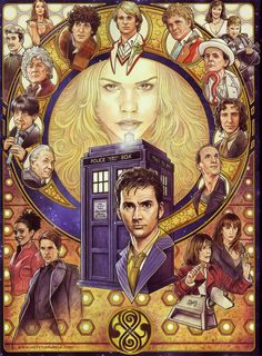 Amazing Doctor Who painting featuring the first 10 Doctors