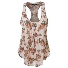 LE3NO Womens Lightweight Flowy Floral Print Scoop Neck Raceback Tank... (820 RUB) ❤ liked on Polyvore featuring tops, floral racerback tank, racerback layering tank, brown top, floral print tank top and floral tops