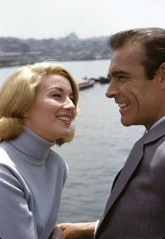 1963.  Sean Connery and Daniela Bianchi.on set.. From Russia with Love