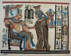 8x12 Papyrus Art - Egyptian Hand Painted Signed Genuine Papyrus Painting - Pharaonic Vintage Collectible - Home Or Office Decor (PAP812-010)
