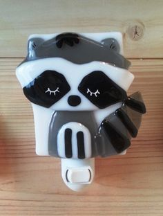 Nightlight, raccoon, fused glass