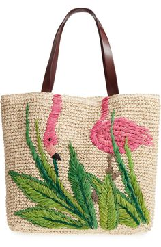 Trendy Women's Bags : flamingo packable woven raffia tote by Nordstrom. A roomy woven-raffia tote with… - Fashion USA embroidery sweets embroidery inspiration embroidery beautiful Cute Purses, Purses And Bags, Diy Summer Clothes, Embroidery Bags, Coin Bag, Bead Crochet, Knitted Bags, Handmade Bags, Fashion Bags