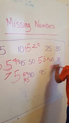 Missing Numbers Game. I write a number sequence that has gaps and he has to fill it in. We do this counting by 1s, 5s, and 10s. #Math