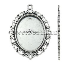 Zinc Alloy Pendant Setting, Flat Oval, antique silver color plated, nickel, lead & cadmium free, 29x39x2mm,china wholesale jewelry beads
