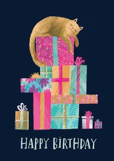 Birthday Cat // A6 blank greeting card