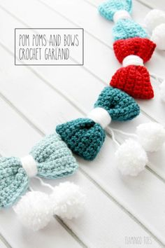 Free Crochet Pom Poms And Bows Crochet Garland Pattern - Crochet Garland Pattern - 73 Free Crochet Garland Ideas - DIY & Crafts