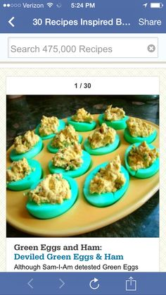 Turquoise deviled eggs