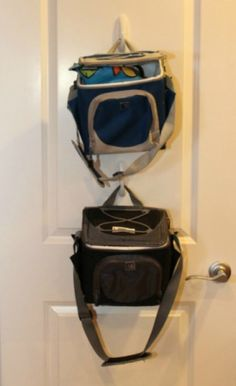 Get 3M hooks to hang lunch bags on the back of your pantry door.