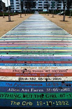 This path at the new Barrowland Park names more than bands along with the date they performed at Glasgow's iconic concert venue, Barrowland Ballroom. Edinburgh, Scotland Travel, Scotland Trip, Highlands, Glasgow City, Best Street Art, Street Artists, Travel Photography, Urban Photography