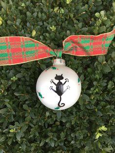Christmas Kitty Ornament  Black Cat Ornament  Cat Lover