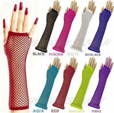Ladies Womens Fishnet Fancy Dress Fingerless Gloves Neon Colour Dance Funky 80s