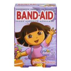 Band-Aid Brand Adhesive Bandages, Dora the Explorer Decorated Bandages, 25 Count (Pack of 3) null.