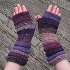 Violet knit fingerless as blueberry jam Unmatched Hand by dwarfs