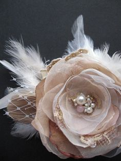 Vintage Rustic Wedding hairpiece bridal fascinator by LeFlowers, by lillie; would love to attach to a headband! :)
