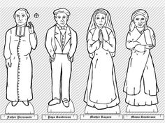 Free, printable Bernadette Paper doll, complete with family, costumes and scenery