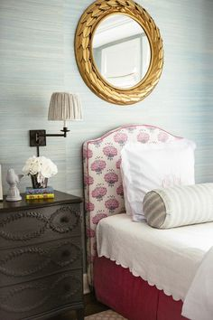Dissecting the Details: M + M Interior Design preppy girl bedroom decor, traditional girl bedroom decor wiht pink upholstered bed, wallpaper and gold mirror with vintage dresser in teen girl bedroom design Guest Bedroom Decor, Decoration Bedroom, Bedroom Ideas, Guest Room, Girl Bedroom Designs, Design Bedroom, Relax, Pretty Bedroom, Beautiful Bedrooms