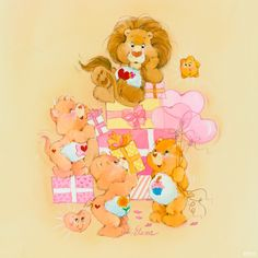 Care Bears and Cousins: Presents Pile with Brave Heart Lion, Proud Heart Cat, Friend Bear and Birthday Bear