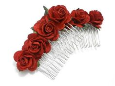 Floral bridal/ bridesmaid accessory - red rose hair comb single or set.Set of rose hair combs in classic red, perfect for weddings and parties - a great alternative to real flowers for bridesmaids hair, or as a gift for flower girls!Weddings. Parties. Proms. Dinner parties. Gala Events and fundraisers. Durable fashion accessory that won't dry out or wilt, and can withstand the wear and tear of the average day, in colours to suit your hair colour, outfit and personal flair!These floral hair combs Wedding Matches, Red Wedding, Wedding Sets, Red Hair Accessories, Bridesmaid Hair Accessories, Flower Girl Gifts, Flower Girls, Fascinator Hairstyles, Hair Comb Wedding